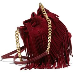 Elizabeth and James Suede Fringe Pouch Bag (€340) ❤ liked on Polyvore featuring bags, handbags, red pouch, drawstring bag, fringe handbags, drawstring pouch and pouch purse