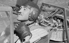 Luftwaffe fighter ace Adolf Galland with a gift basket with champagne and lobster for Generalmajor Theodor Osterkamp's birthday. Luftwaffe, Adolf Galland, Airplane Pilot, Major General, Ww2 Aircraft, Military History, World War Two, Wwii, Aviation
