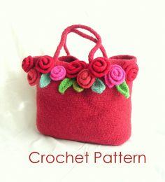 Crochet & Felted Rose Bag Pattern Tutorial by GraceKnittingPattern
