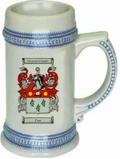 Cree scottish Family Crest / Coat of Arms mug stein.  This stein starts with the family coat of arms hand drawn digitally.  We then use a high quality 22 oz. ceramic stein to apply the coat of arms to