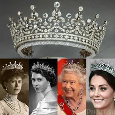 The Girls of Great Britain and Ireland Tiara! This tiara was given as a wedding gift to Queen Mary in 1893 by a committee of The Girls of… Royal Crown Jewels, Royal Crowns, Royal Tiaras, Royal Jewelry, Tiaras And Crowns, British Crown Jewels, Kate Middleton, English Royal Family, Queens Jewels