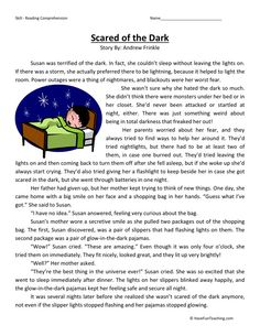 This Reading Comprehension Worksheet - Scared of the Dark is for teaching reading comprehension. Use this reading comprehension story to teach reading comprehension. The Effective Pictures We Offer Yo Reading Comprehension Activities, Reading Worksheets, Reading Fluency, Reading Passages, Reading Skills, Teaching Reading, Literacy Worksheets, Comprehension Strategies, Reading Response
