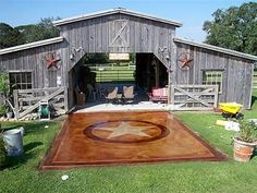 Love this stained concrete patio ~ Concrete Patios ~ Concrete Stain, New Braunfels Acid Stained Concrete Patio, Concrete Patios, Stain Concrete, Concrete Pad, Future House, My House, Old Barns, Farm Life, My Dream Home