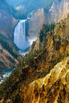 This is Yellowstone National Park in Lower Falls Wyoming. I have never been to Yellowstone National Park and this is already on the Bucket List. Simply beautiful and perfect for hiking/backpacking. Beautiful Waterfalls, Beautiful Landscapes, Yellowstone National Park, National Parks, Places To Travel, Places To See, Parcs, Adventure Is Out There, Places Around The World