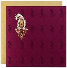 Purple and gold Indian wedding invitations. Simply and classy