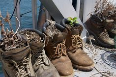 Boot Planters in Red Hook by CheeryObs, via Flickr