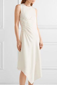 Elizabeth and James - Martha Ruched Stretch-silk Midi Dress - Ivory - US12