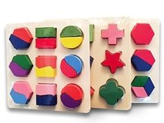 Amazon.com: Wooden Puzzles Set Of 3. Best Geometric Puzzles For Kids, Learn Math & Shapes The Fun Way! Perfect Children puzzles, Super Durable, Lifetime Warranty: Toys & Games