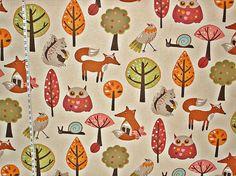 Scandinavian fabric retro fabric owl fabric by BrickHouseFabrics
