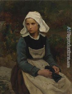 Young Britteny girl knitting. Jules Adolphe Aime Louis Breton