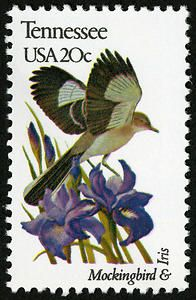 Mockingbird and Iris on the Tennessee stamp from 1982.