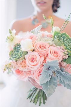 Love how BIG this bouquet is! mint, peach and succulent bouquet. Close to what I want but not quite as many of those leaves hanging out on the bottom left