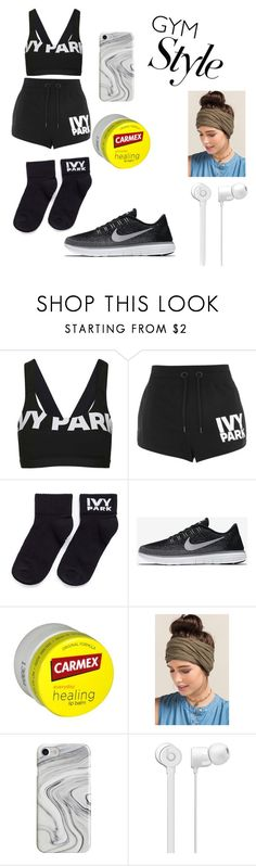 """""""Gym"""" by lynnayaj ❤ liked on Polyvore featuring Topshop, Ivy Park, NIKE, Carmex, Francesca's and Recover"""