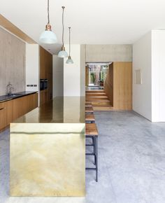 The Pear Tree House by Edgley Design is a beautiful example of modern architecture and respecting nature and its beauty as the house was built around the Modern Kitchen Design, Interior Design Kitchen, Modern Kitchens, Kitchen Designs, Modern Architecture Design, Interior Architecture, Narrow House, Interior Styling, House Design