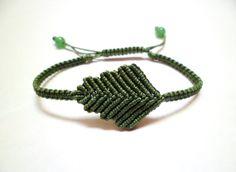 Leaf Macrame Knot Friendship Lime Cord Bracelet