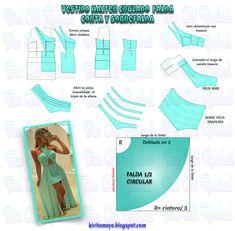 KiVita MoYo : VESTIDO HALTER CRUZADO CON FALDA DOBLE Easy Sewing Patterns, Coat Patterns, Doll Clothes Patterns, Sewing Clothes, Clothing Patterns, Diy Clothes, Formal Dress Patterns, Evening Dress Patterns, Wedding Dress Patterns
