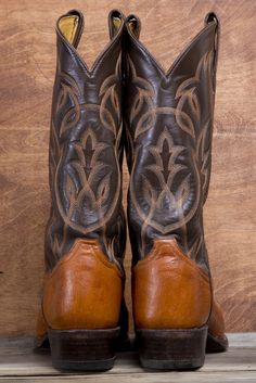 The Vintage Buffalo - Men's Tony Lama Cowboy Boots. Quality made Tony Lama cowboy boots with a dark brown top and light brown bottom. The stitching is made up of different shades of brown. The soles are in great condition. Some general wear $89.00