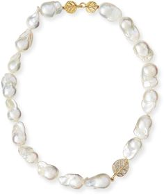 Michael Aram 18k Diamond Botanical Leaf & Pearl Necklace, 16
