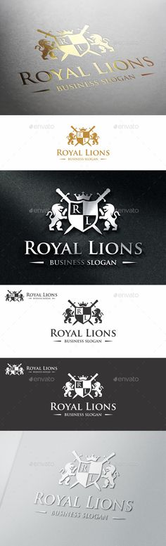 Royal Lions Valiant Heraldic Luxury Crest Logo ¨C Suitable for businesses and product names, luxury industry like Hotel, Wedding, R