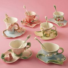 Garden Party Tea Cup These lovely tea cup sets are made of hand painted porcelain and feature unique botanical themes. Made by Two's Company, these food safe cups come with matching saucers and spoons.