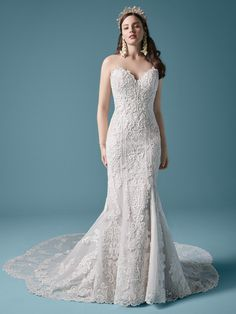 In the market for a classically elegant lace sheath wedding gown? Focus on fit, tailoring, and subtle embellishment. Wedding Dress Pictures, Dream Wedding Dresses, Bridal Dresses, Bridal Gown, Wedding Outfits, Prom Boutiques, Sheath Wedding Gown, Blush Gown, Maggie Sottero Wedding Dresses