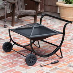 Fire Sense Cart Model Fire Pit w Wood rack n Tool - Fire Pits
