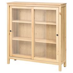 IKEA - HEMNES, Glass-door cabinet, white stain, , Sliding doors do not take up any space when opened.Solid wood has a natural feel.