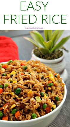 Easy Chicken Fried Rice is a quick and simple dinner you can make any night of the week. This stir fry is ready in just 30 minutes, full of healthy vegetables and kid-friendly, too - you can even make it if you don't have any leftover rice on hand! Vegetable Fried Rice, Fried Vegetables, Healthy Vegetables, Vegetable Dish, Rice With Vegetables, Veggies, Asian Recipes, Healthy Recipes, Chinese Food Recipes