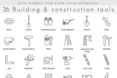 36 Building Construction line icons @creativework247