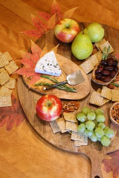 Movie Night Cheese Board Ideas : Several varieties of cheese and crackers. Add grapes, apples, pears, nuts and olives.