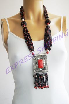 Expedited fast shipping / Necklace Afghan Silver by ArtofAccessory