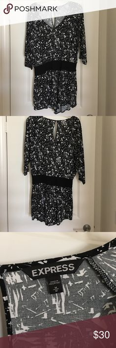 Express 3/4 sleve romper Black and white romper with black elastic waist band. Express clothing. Lightly worn, no holes or snags. Strong material, comfortable fit! Express Dresses Long Sleeve