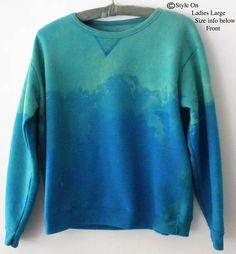 Women Sweatshirt Teal Sweatshirt Blue sweatshirt Ladies