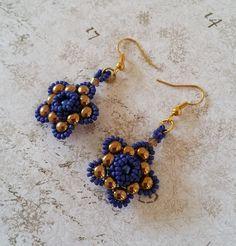 Blauw gouden ster oorbellen Blauwe ster door HoneyBeads1Official