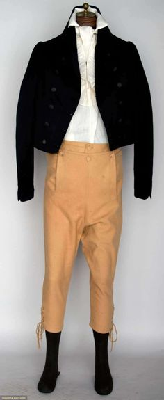 Suit worn by John Hathaway Jr. at wedding to Hannah Coen Sherman June 13th, 1809. (Up for auction November 13, 2013 in NYC - Augusta Auctions)