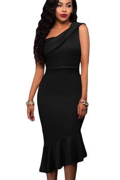 Robe de Soiree Mi Longue Chic Noire Une Epaule Asymetrique Sirene