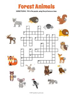 Forest Animals Crossword Puzzle by Puzzles to Print Social Studies Worksheets, Animal Worksheets, Printable Crossword Puzzles, English Worksheets For Kids, Animal Puzzle, Camping Crafts, Camping Activities, Forest School, Kindergarten Activities