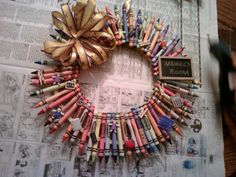 Christmas 2011 - Niece and I created this crayon wreath for her K teacher This Is Us, Teacher, Wreaths, Christmas, Crafts, Home Decor, Homemade Home Decor, Navidad, Manualidades