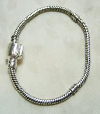 """1 Cable Style Bracelet Silver Tone Plated European Style Size Extra Small 6.5"""" $5.50 free shipping in USA"""