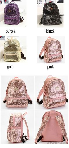 769cfa1dbb Pink Shine Crown Girl School Rucksack Sequin Student Backpack only  30.99
