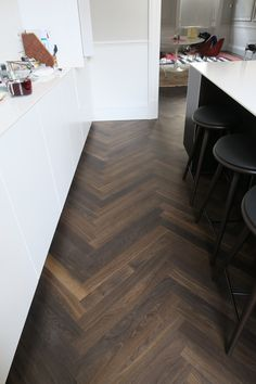 Smoked Oak Herringbone, Harley Street, London  Waxed Floors - The natural home of real wood flooring. Bespoke European Engineered Timber Flooring. Made to order in your choice of colour, grade, finish and pattern design.   Showroom in Battersea, London.  Delivered and supplied throughout the UK/EU. Design Studio, Küchen Design, House Design, Pattern Design, Engineered Timber Flooring, Parquet Flooring, Hardwood Floor Colors, Hardwood Floors, Living Room Flooring