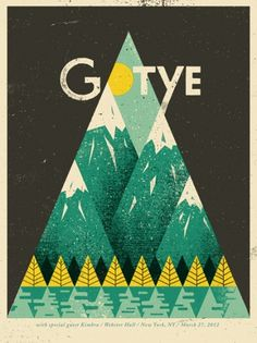 Music poster for a performance in March 2012 by Gotye, featuring Kimbra. Interesting graphic decision, not what I associate with his music. via design inspiration