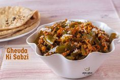 Ghevda Ki Sabzi-Ghevdyachi Bhaji - Kali Mirch - by Smita Indian Veg Recipes, Vegetarian Recipes, Ethnic Recipes, Recipes In Marathi, Gujarati Cuisine, Bhaji Recipe, Veg Dishes, Green Veggies, Lunch Box Recipes