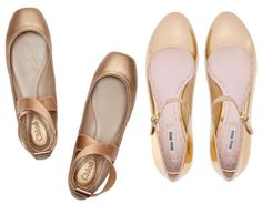 gold-flat-ballet-shoes - Once Wed