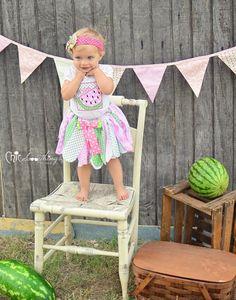Fabric Tutu, SUMMER WATERMELON, Shabby Chic Fabric Tutu,, Photo Prop Tutu, Childrens Toddler Tutu, watermelon Birthday, Halloween costume