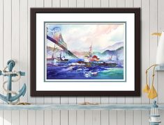 Out to Sea - Watercolor PRINT. Tugboat Art. Watercolor Boat Painting. Astoria, Oregon Bridge. Columbia River Tug. Pacific Northwest Print. Watercolor Landscape, Watercolor Print, Watercolor Paintings, Boat Painting, Painting Prints, Beacon Rock, Out To Sea, Tug Boats, Frame Shop