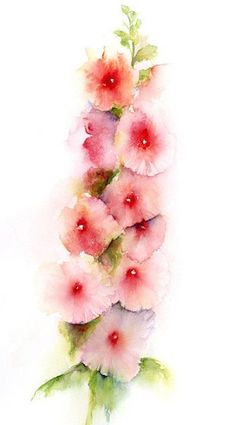 Floral abstract watercolor print hollyhock flower by SRorickArt