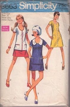 MOMSPatterns Vintage Sewing Patterns - Simplicity 8663 Vintage 60's Sewing Pattern FAB Mod Scoop Neck Twiggy Tunic Top, Mini Skirt & Button Trimmed Dress