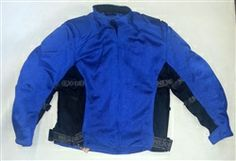 blue and black kids motorcycle jacket with protective body armor