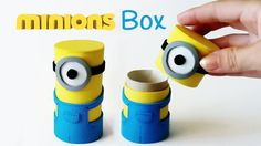 DIY crafts: MINIONS BOX from cardboard tube - Innova Crafts. DIY crafts: Minions box from cardboard tube - Innova Crafts How to make Minions box from cardboard tube. Cardboard Box Houses, Cardboard Tubes, Cardboard Crafts, Paper Crafts, Toilet Paper Roll Diy, Diy For Kids, Crafts For Kids, Fun Crafts, Diy And Crafts